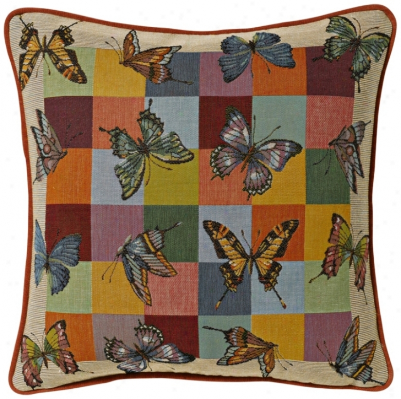 "Checkerboard Butterflies 19"" Square Pillow (g2891)"