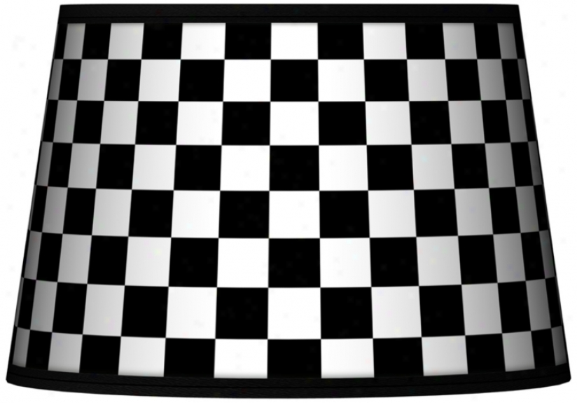 Checkered Black Tapered Lamp Shade 13x16x10.5 (spider) (n8900-n9888)