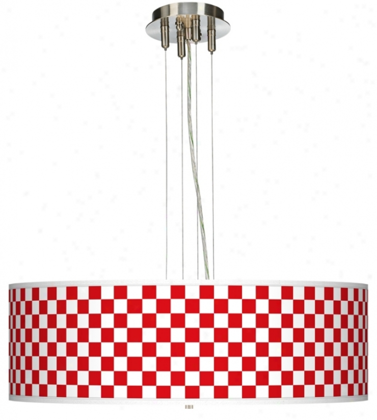 Checkered Red 24 Wide Four Light Pendant Chandelier
