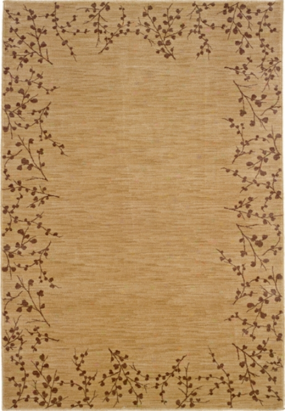 "Cherry Blossom Border Beige 6' 7""x9' 6"" Area Rug (30546)"