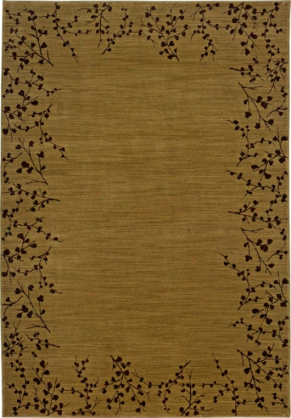 "Cherry Blossom Border Gold 7' 8"" Square Area Rug (30885)"