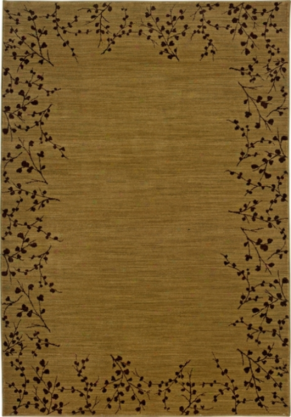 Cherry Blossom Border Gold 7&#039; 8&quot;x10&#039; 10&quot; Area Rug (30875)