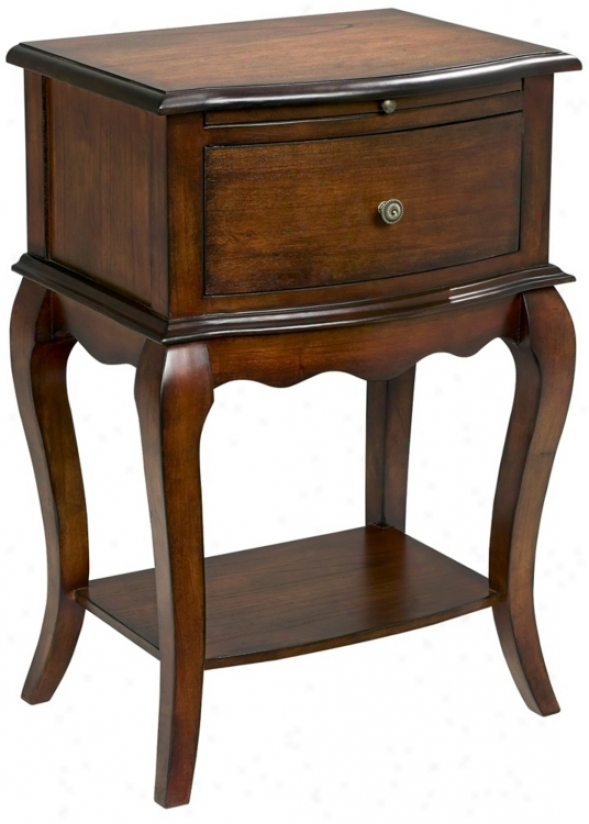 Cherry Finish Sijgle Drawer Traditional End Table (t0434)