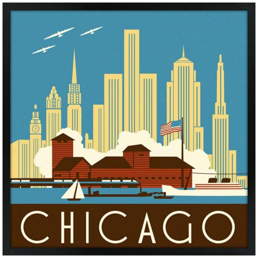 """Chicago Ii 21"""" Square Black Giclee Wall Art (n6903)"""