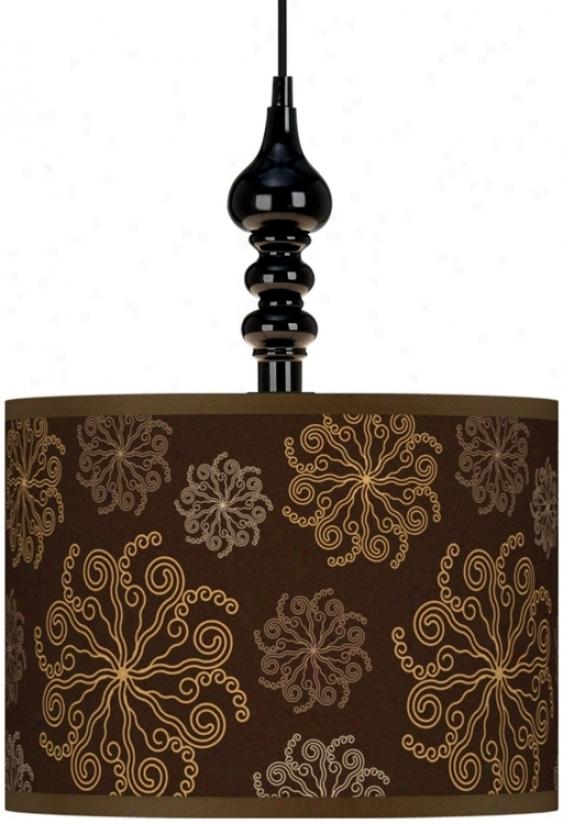 "Chocolate Blossom 13 1/2"" Spacious Black Plug-in Swag Pendant (k3342-u1615)"