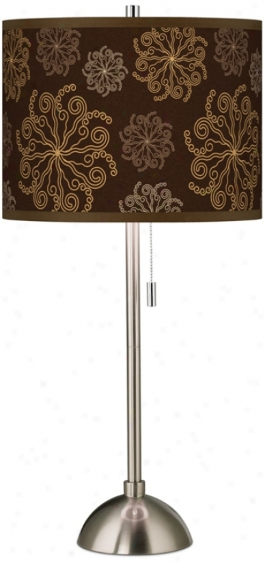 Chocolate Blossom Linen Giclee Contemporary Table Lamp (60757-u0895)