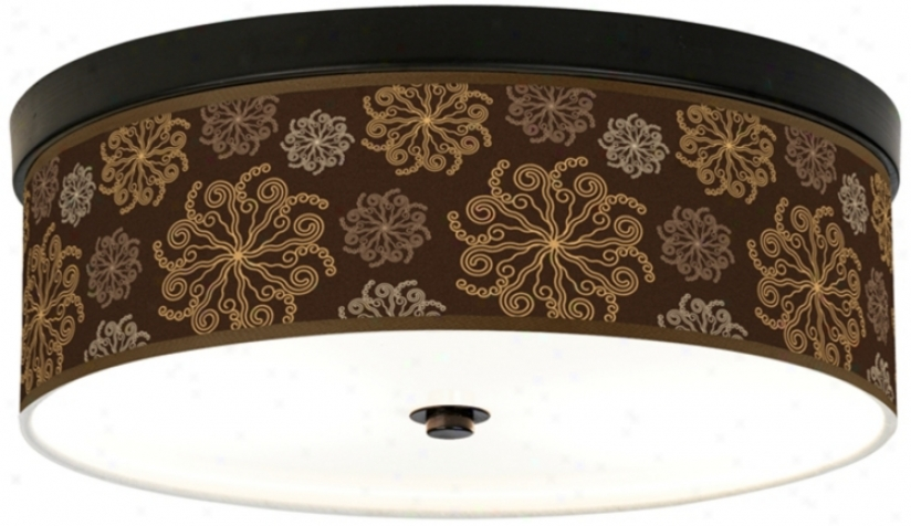 Chocolate Blossom Linen Giclee Energy Efficient Ceiling Light (h8795-u1648)