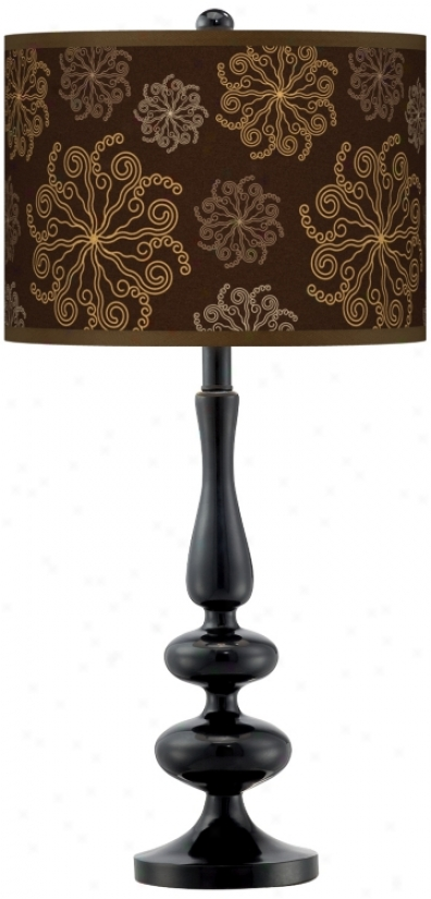 Chocolate Blossom Linen Giclee Paley Black Table Lamp (n5714-u0901)