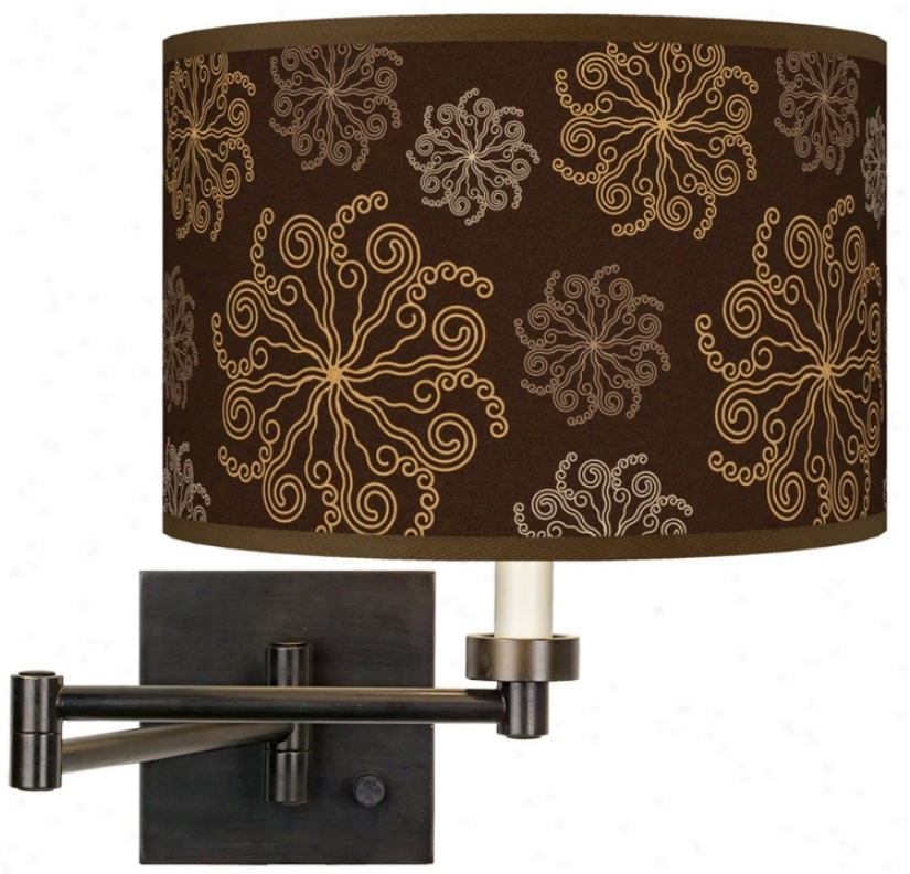 Chocolate Bl0ssom Linen Giclee Plug-in Swing Arm Wall Light (h6553-u1734)