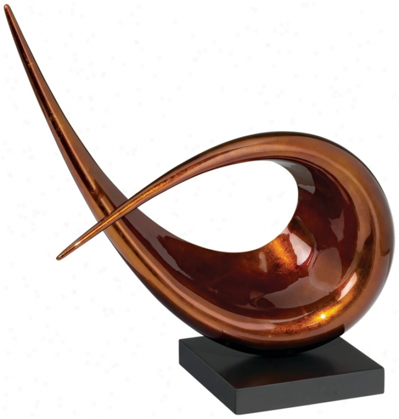 Chocolate Varnish Pinched Ends Looped Sculpture (k4823)