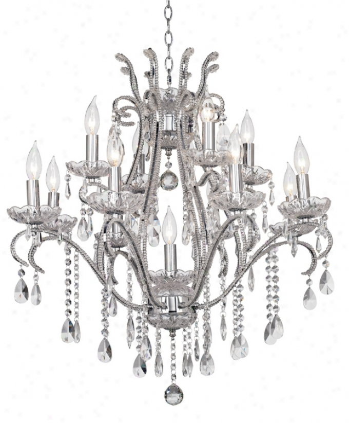 "Chrome And Crystal 29"" Wide 12-light Chandelier (74638)"