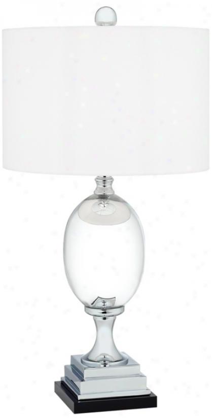 Chrome Finish Egg On Pedestal Tqble Lamp (r2786)