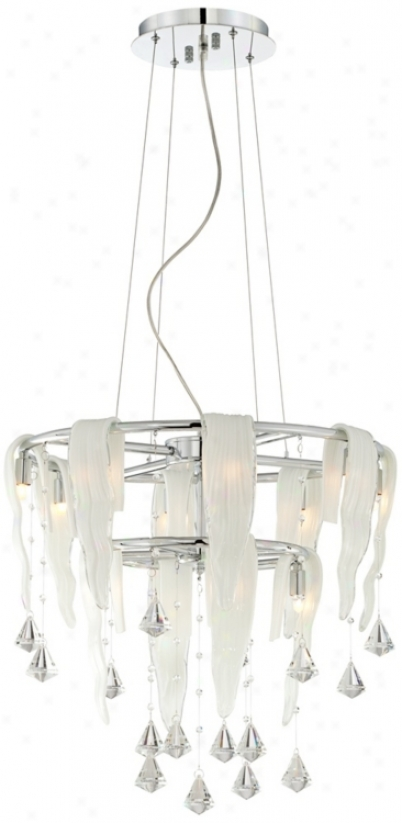 "Chrome Rippled Glass Crystal Drops 19 3/4"" Wide Chandelier (t6282)"