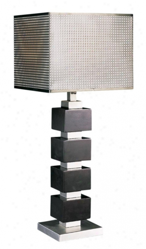 Chrome Screen Cappuccino Wood Cube Table Lamp (h1134)
