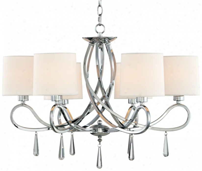 "Chrome Swirl Glass Ear-ring 26"" Wide Chandelier (t6860)"