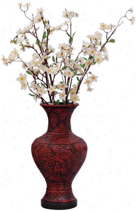 Cinnabar Style Carved Vase (p2838)