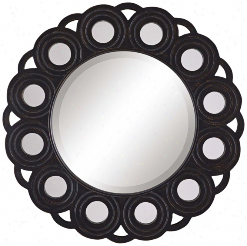 "Ciircle Blossom Aged Black 30"" Diameter Wall Mirror (p7908)"