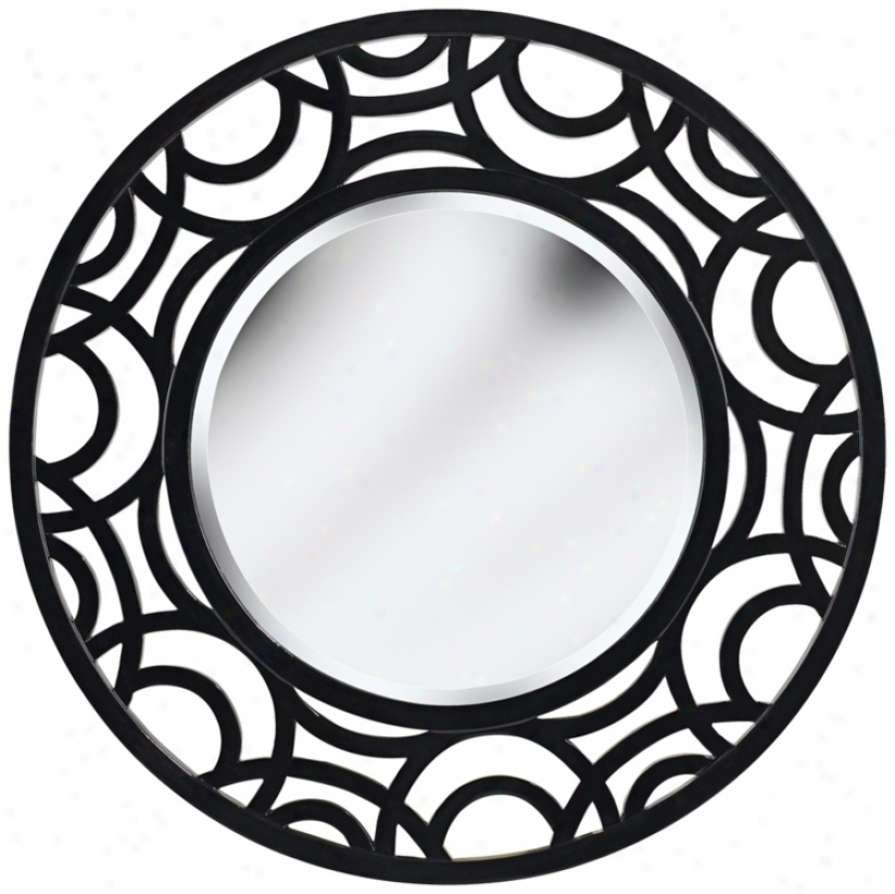 "Circular Dimensions Gloss Black 34"" High Wall Mirror (t5060)"