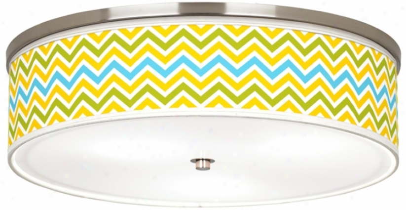 "Citrus Zig Zag Giclee Nickel 20 1/4"" Wide Ceiling Light (j9213-w3716)"