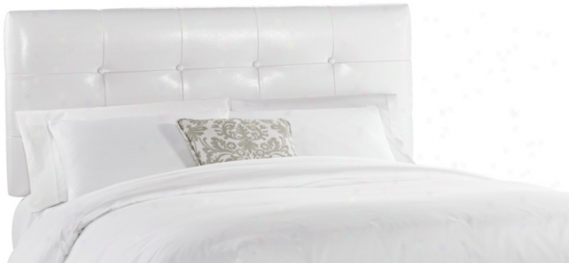 Classico White Button Tufted Queen Headbozrd (w3861)