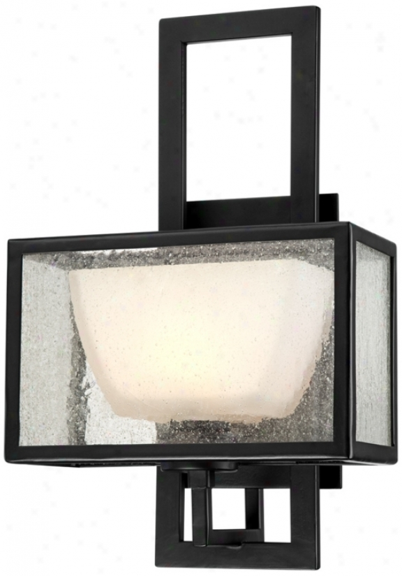 """Clear Amber Seeded Glass 13"""" High Bronze Wall Sconce (u9327)"""