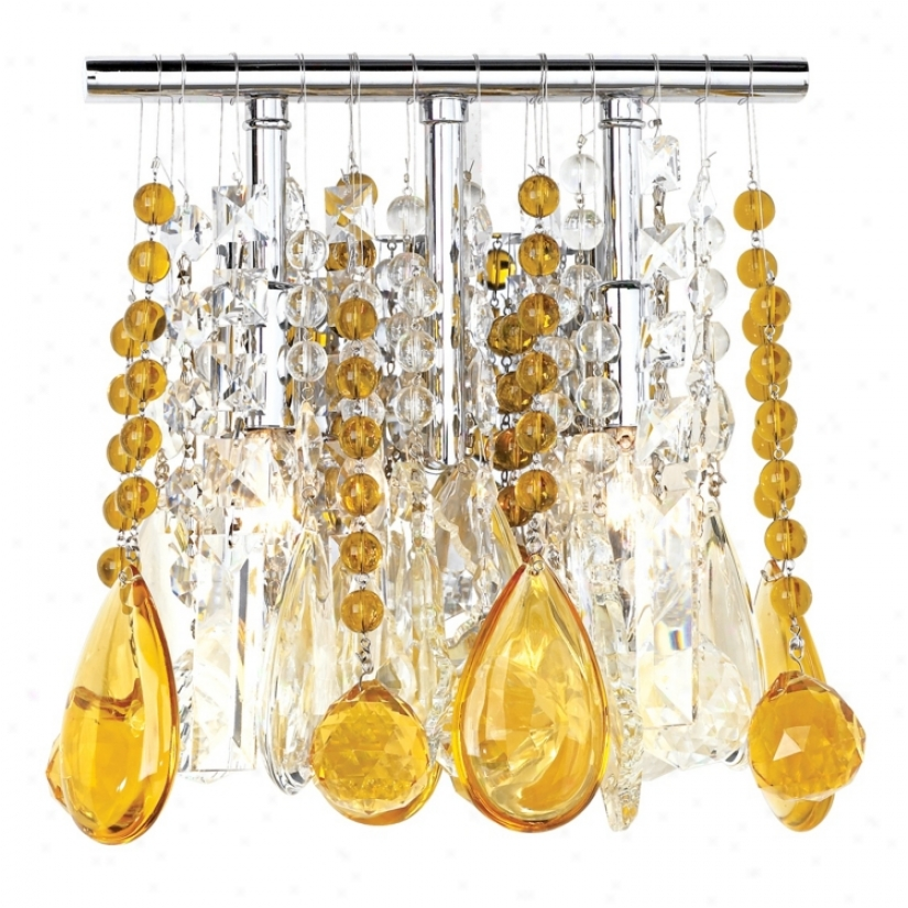 "Clear And Amber Crystal  9"" Wide Two Light Wall Sconce (33768-00829)"