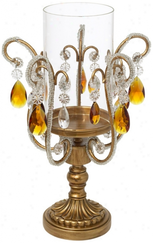 Clarify And Amber Crystal Hurricsne Candle Holder (p1770)