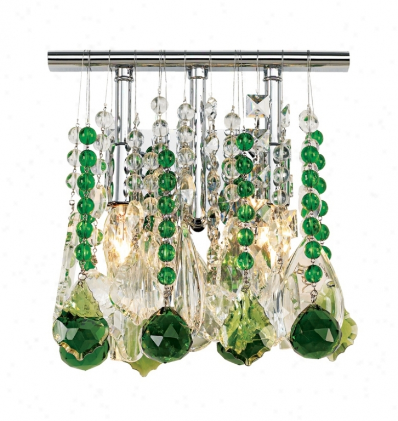 """Clear And Green Crystal 9"""" Remote Two Light Wall Sfonce (33768-f6172)"""