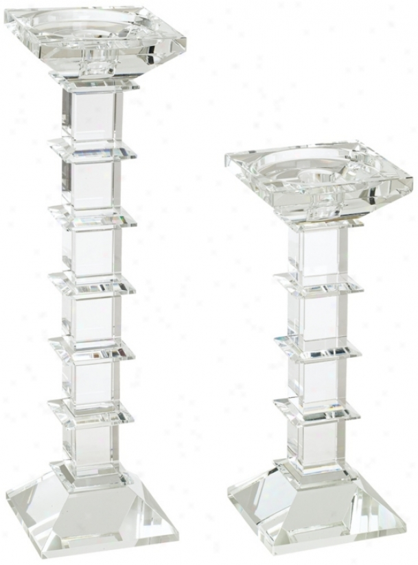 Clear Crystal Cubic Set Of 2 Pillar Candle Holders (r6041)