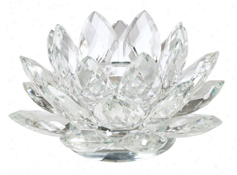 Clear Crystal Lotus Candle Holder (21711)
