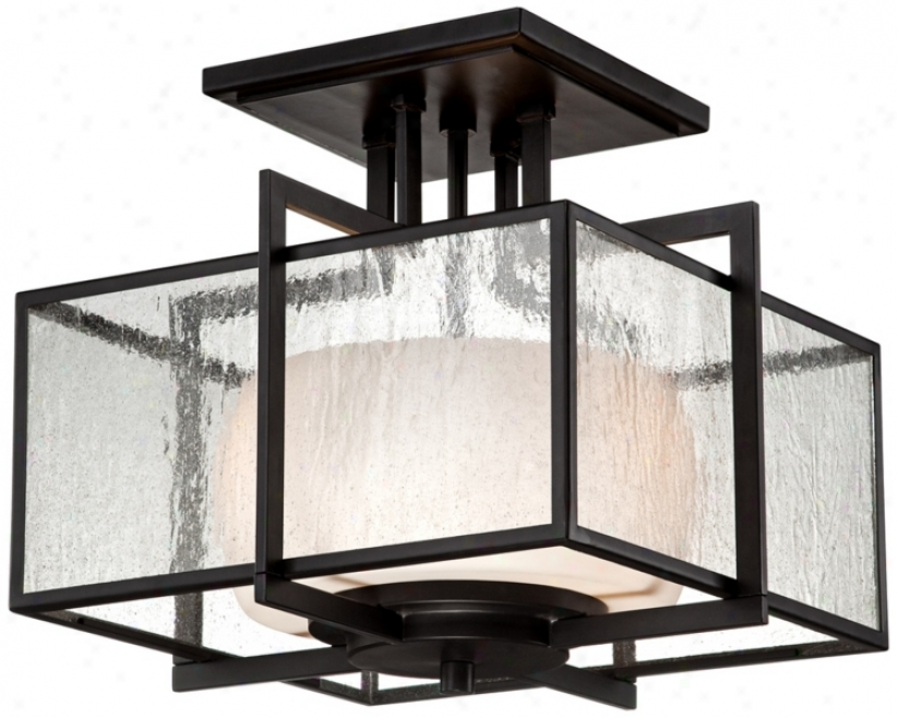 "Clear S3eded Glass 15 3/4"" Wide Bronze Ceiling Light Fixture (u9325)"