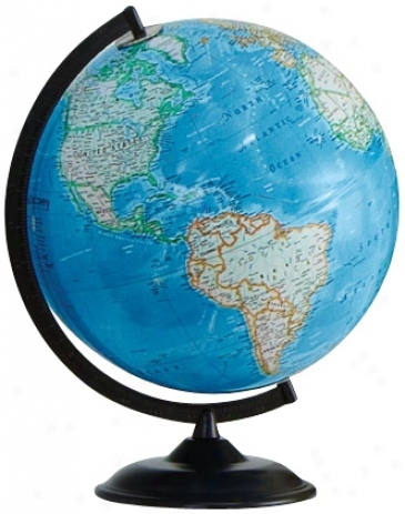 "Clearfield Black Baze 16"" High Blue Ocean World Globe (w2909)"