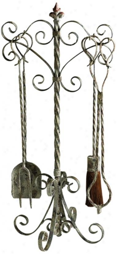 Coastal Antique White 4-piece Fireplace Tool Set (vO475)