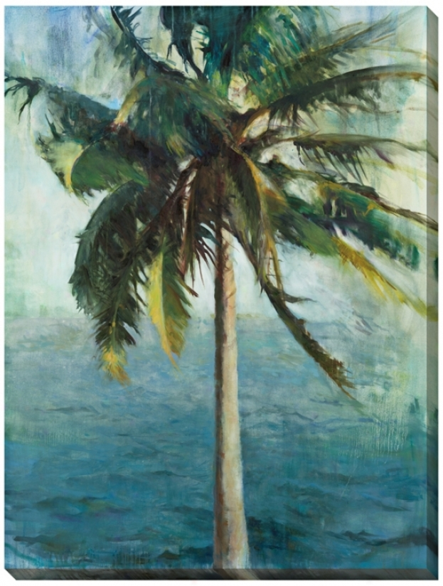 "Coconut Tree And Water Limited Edition 48"" High Wall Art (l0345)"