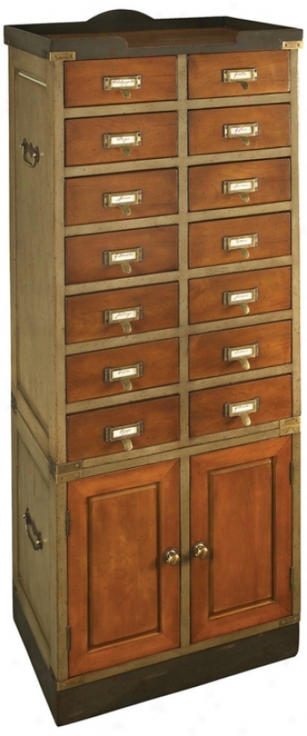 Coliector's French Finish Cactus & Honey Cabinet With Doors (t1687)