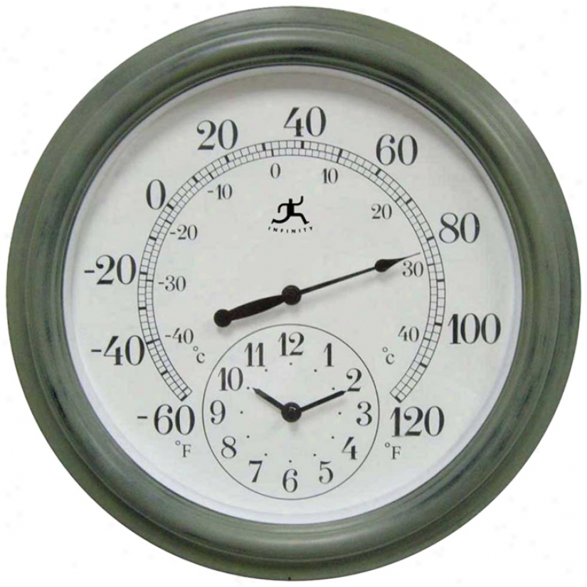 "Combo Indoor-outdoor 15 3/4"" Wide Wall Clock Thermometer (j4964)"