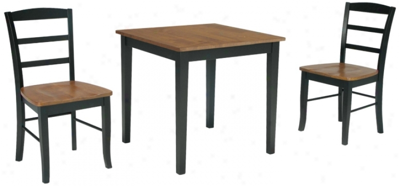 Combo Wood Finish Dining Table And Madrid Chairs Set (u4329)