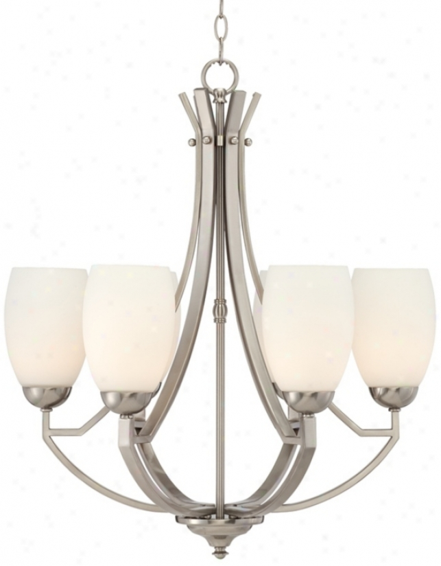 "Concourse 24 3/4"" Wide Steel And Glass Chandelier (t6753)"