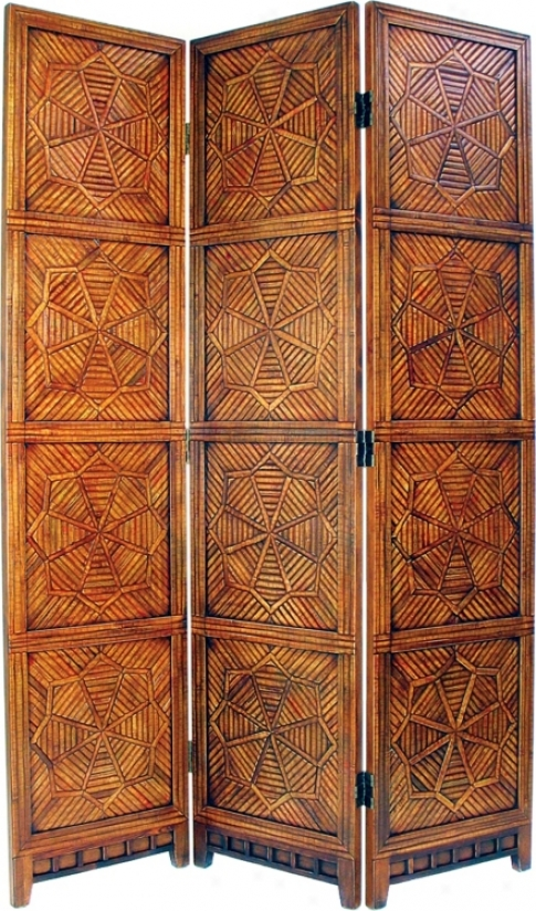 Congo Brown Wood And Bamboo Room Divder Screen (h2282)