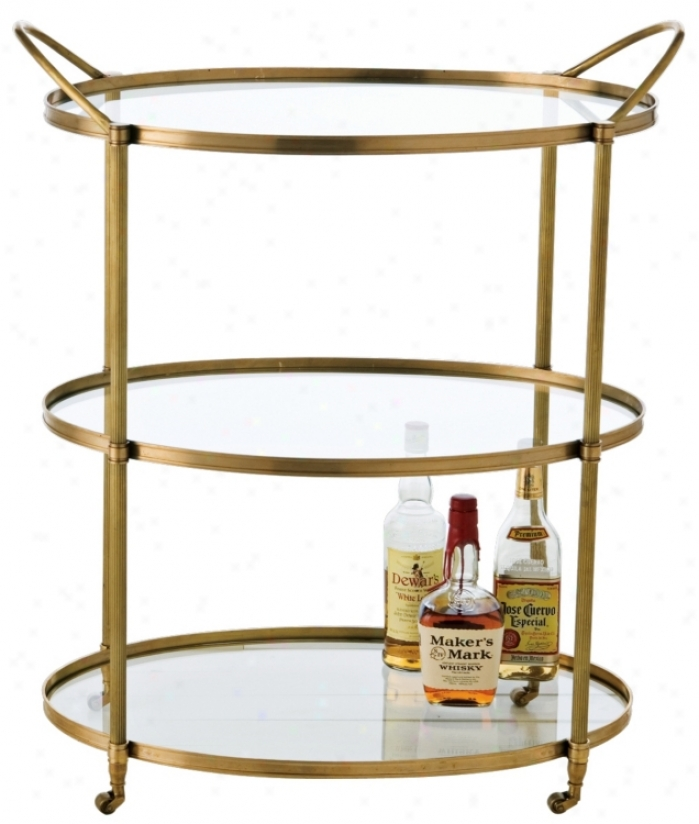 Connaught Antique Bronze Bar Cart (f7917)