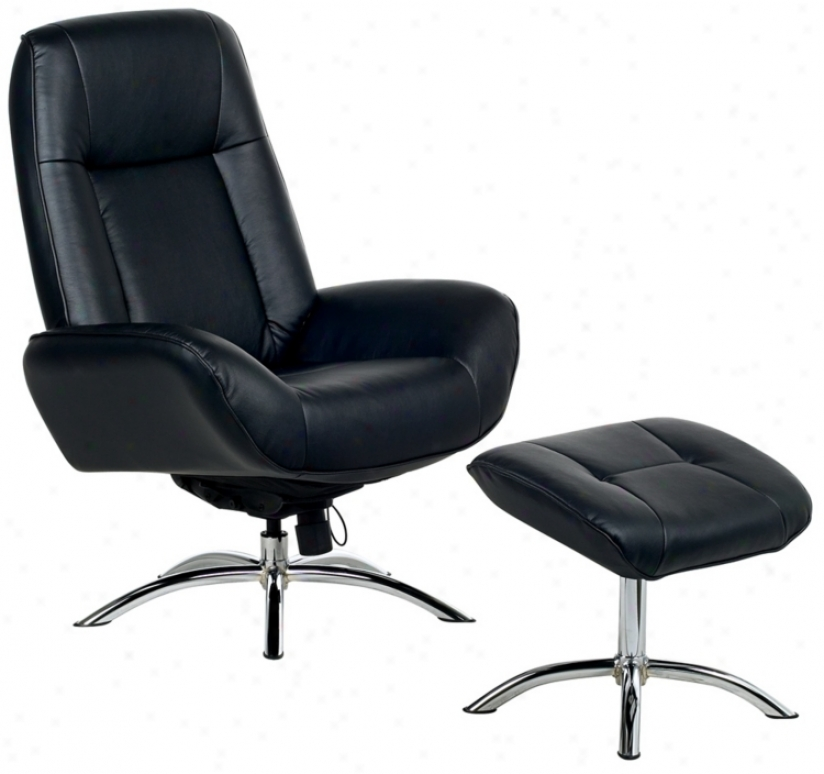 Contemporary Black Leather Swivel Recliner And Ottoman (p754)
