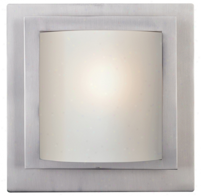 "Contemporary Brushed Steel 10"" Wide Wall Sconce (14543)"