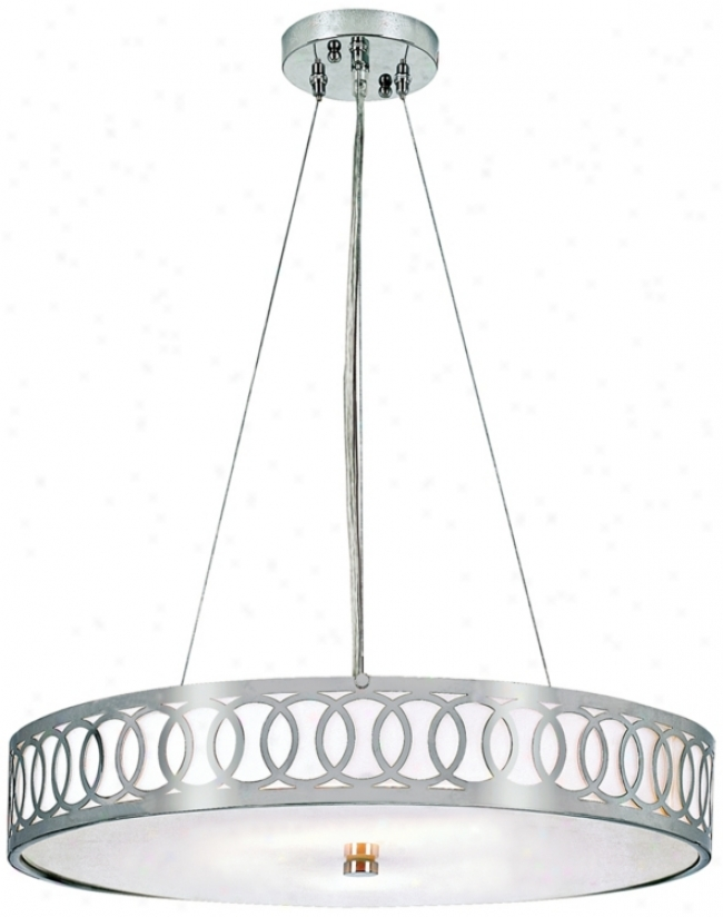 "Contemporary Collection Brushed Nickel 24"" Wide Chandelier (m8559)"