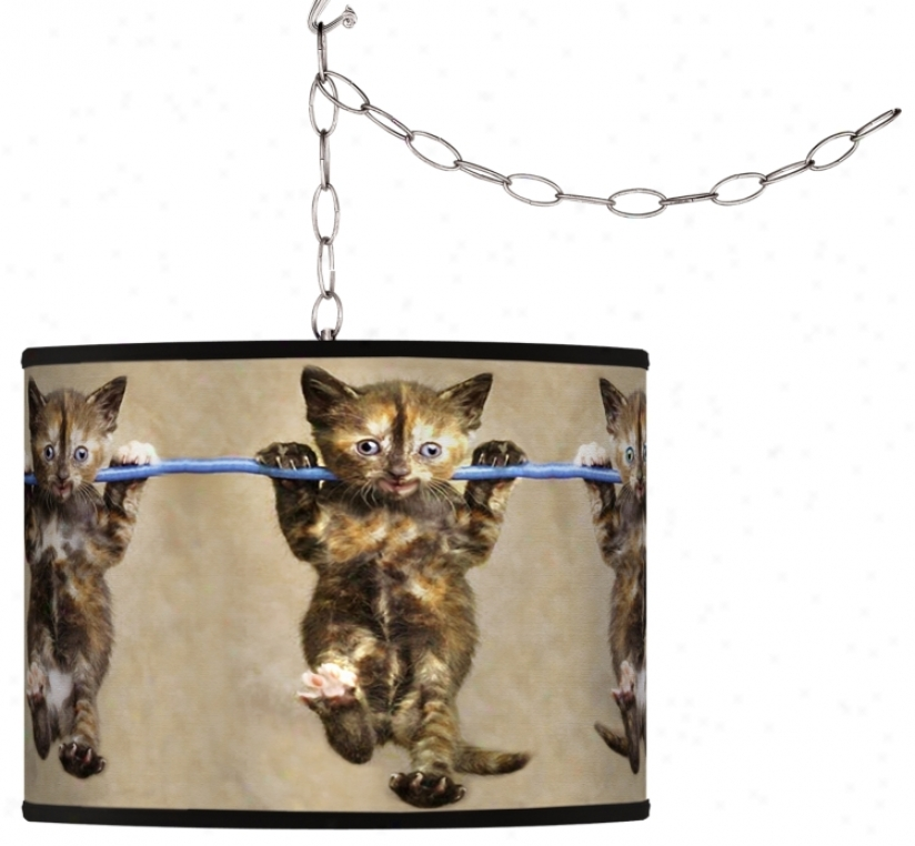 Cool Cat Giclee Swag Style Plug-in Chandelier (f9542-h7912)