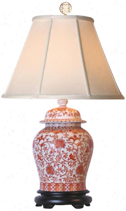 Coral Porcelain Temple Shake Synopsis Lamp (g7011)