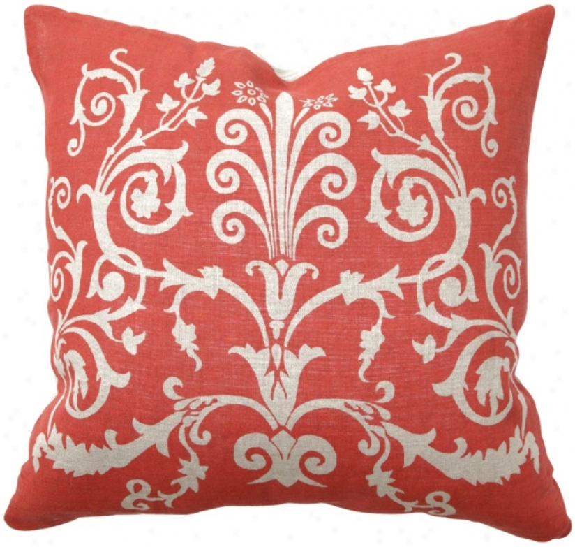"Coral RedS croll Print 22"" Wide Throw Pillow (t9839)"