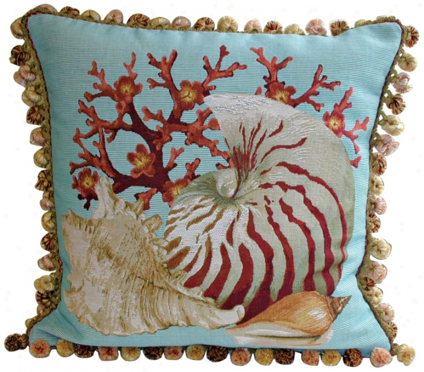 Coral Sea Shells Teal Throw Piillow (k1342)
