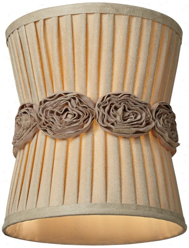 Cotton Pleated Rosettes Pinched Drum Shade 9x9x10 (spider) (u0974)