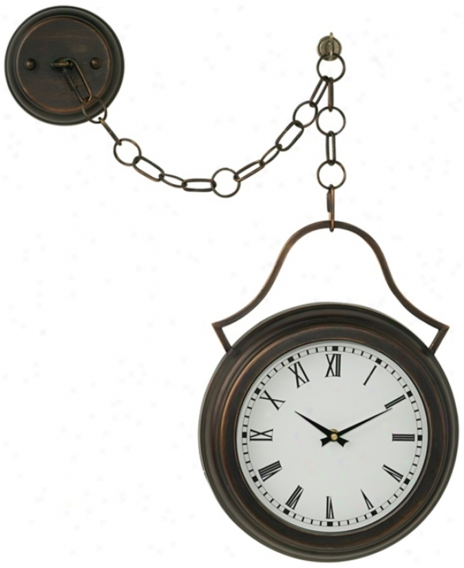 "Courtyard Bronze 16 1/2"" High Hanging Pendant Clock (m0080)"
