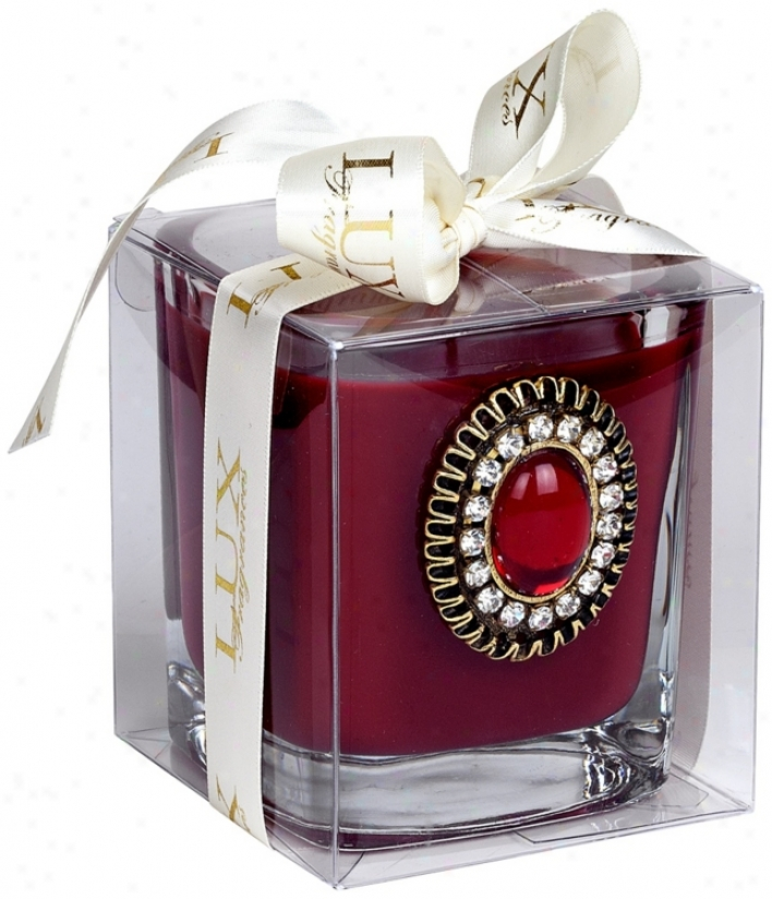 Cranberry Spice With Jeweled Decoation Scented Candle (u7701)